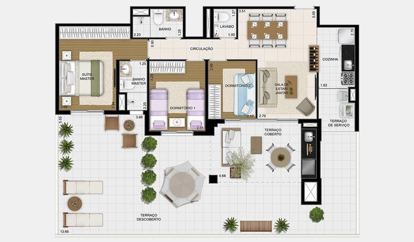 Massimo Vila Mascote – Planta garden 83 m² 3 dorms.