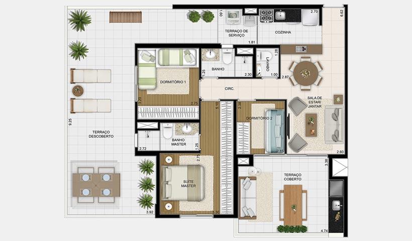 Massimo Vila Mascote – Planta garden 85 m² 3 dorms.