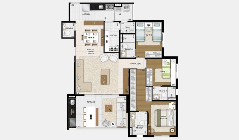 Massimo Vila Mascote – Planta opção 120 m² 3 suítes