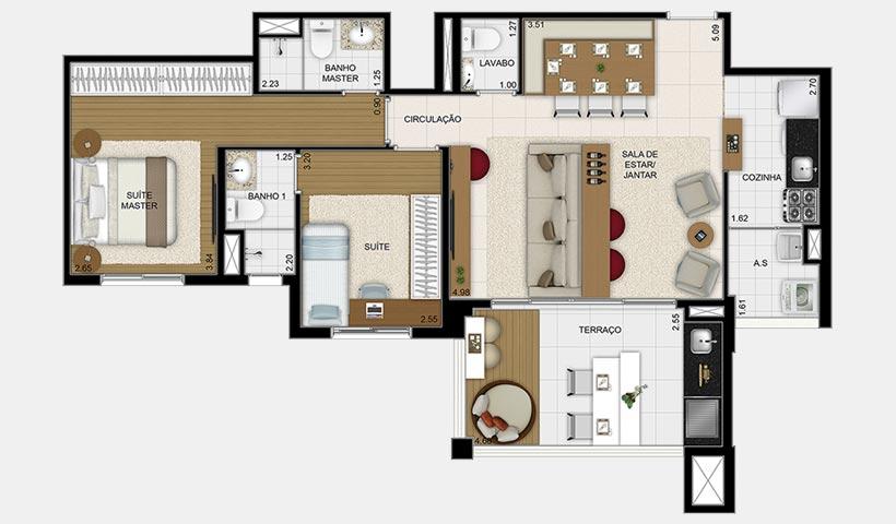 Massimo Vila Mascote – Planta opção 83 m² 2 dorms.