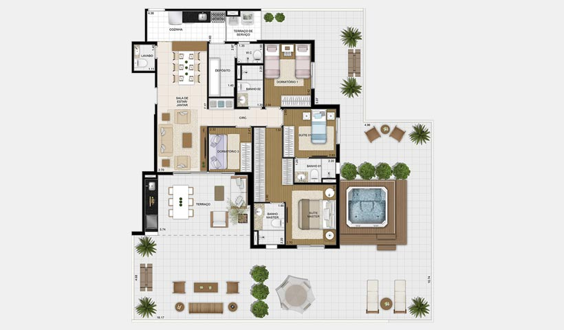 Massimo Vila Mascote – Planta garden 120 m² 4 dorms.