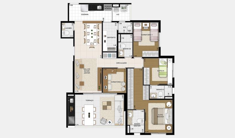 Massimo Vila Mascote – Planta tipo 120 m² 4 dorms.