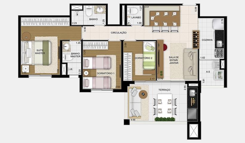 Massimo Vila Mascote – Planta tipo 83 m² 3 dorms.