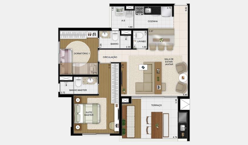 Massimo Vila Mascote – Planta tipo 85 m² 2 dorms.