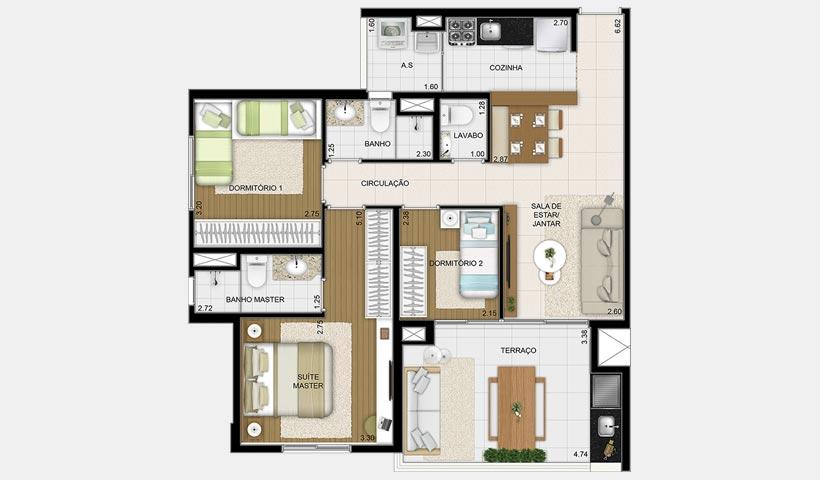 Massimo Vila Mascote – Planta tipo 85 m² 3 dorms.