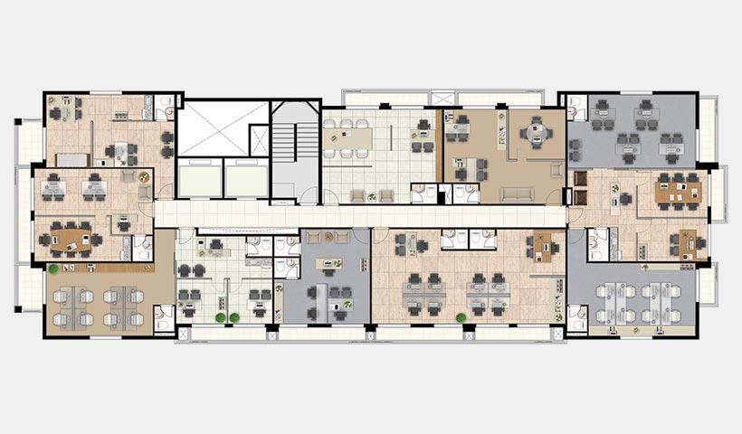 Neo Offices – Planta decorada pavimento 3º ao 9º andar