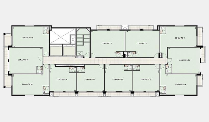 Neo Offices – Planta pavimento 3º ao 9º andar