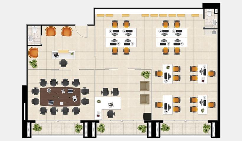Neocorporate Offices – Planta dos conjuntos 10, 11 e 12