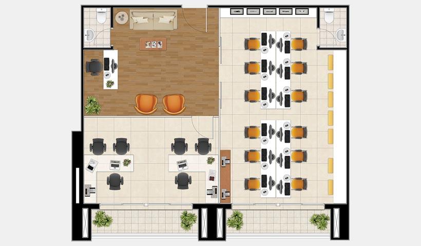 Neocorporate Offices – Planta dos conjuntos 10 e 11