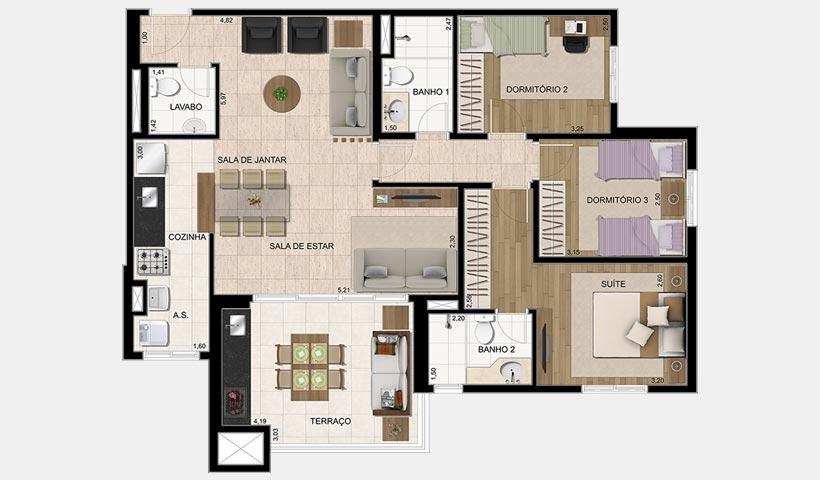 Parque Ventura – Planta 100 m² 3 dorms.