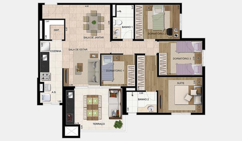 Parque Ventura – Planta 100 m² 4 dorms.