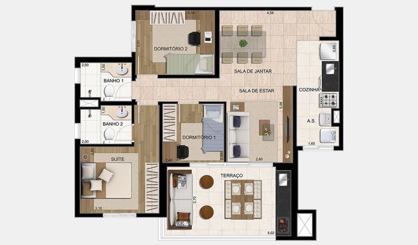 Parque Ventura – Planta 83 m² 3 dorms.
