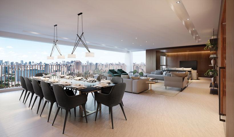Pátrio Ibirapuera – Perspectiva Ilustrada do Living Integrado ao Terraço do Apartamento de 280 m² privativos na opção sala ampliada com sugestão de decoração
