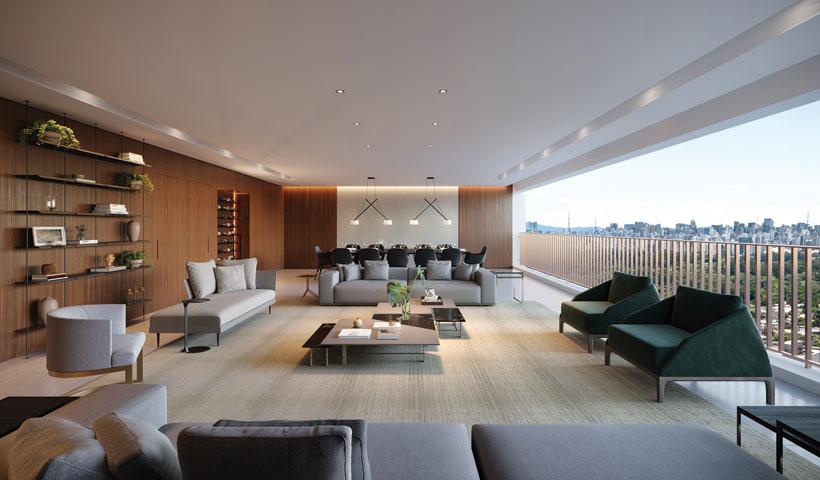 Pátrio Ibirapuera – Perspectiva Ilustrada do Living Integrado ao Terraço do Apartamento de 280 m² privativos com sugestão de decoração