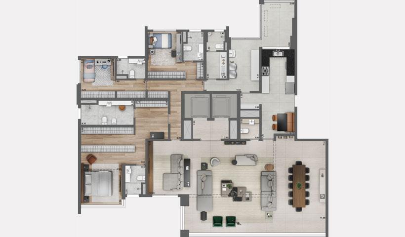 Pátrio Ibirapuera – Planta Opção com Living Ampliado do Apto. de 280 m² privativos com sugestão de decoração - Final 1