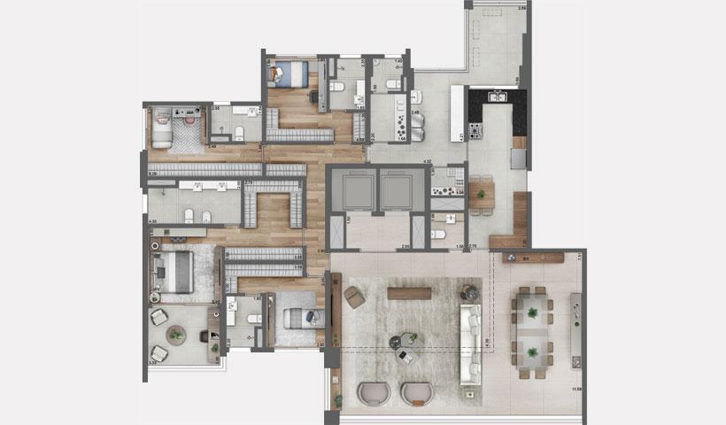 Pátrio Ibirapuera – Planta Tipo do Apto. de 280 m² privativos com sugestão de decoração - Final 1