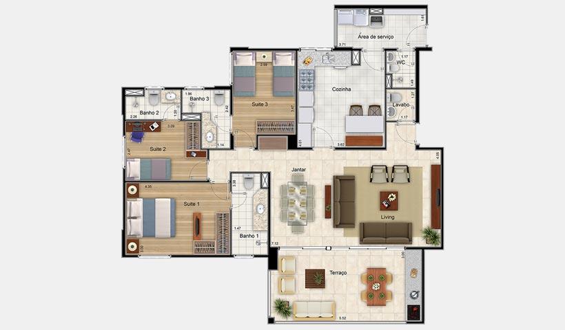 Premiatto Jundiaí – Planta opção de 132 m²