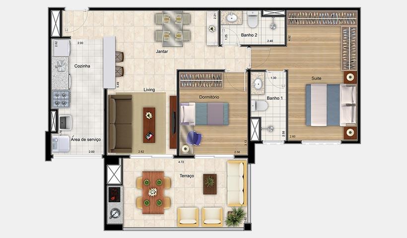 Premiatto Jundiaí – Planta opção de 79 m²