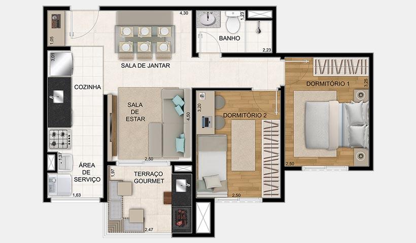 Prime House Parque Bussocaba – Planta 53 m² 2 dorms.
