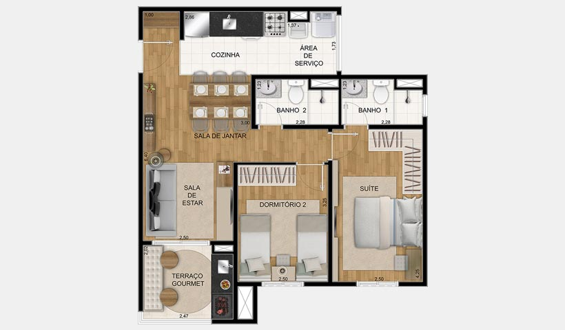 Prime House Parque Bussocaba – Planta 60 m² 2 dorms.