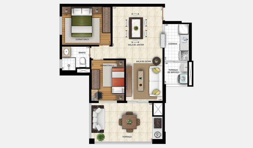 Prime House Sacomã – Planta tipo com 2 dorms. - 2