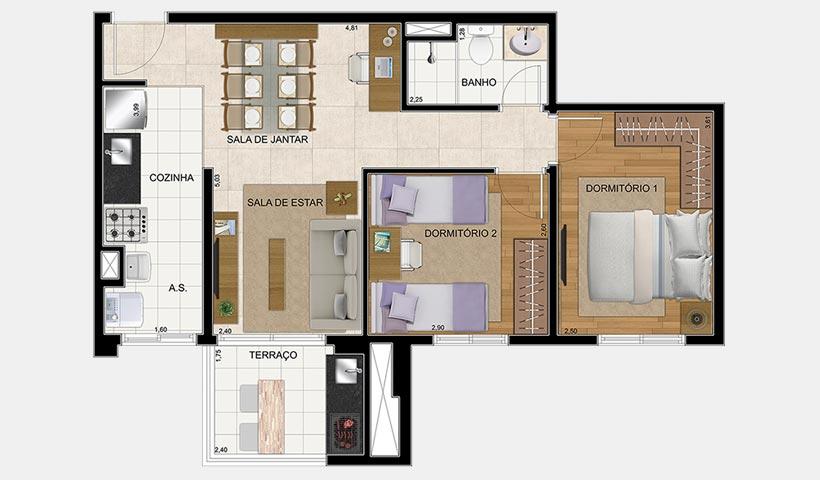 Prime House SBC – Planta 55 m² 2 dorms.