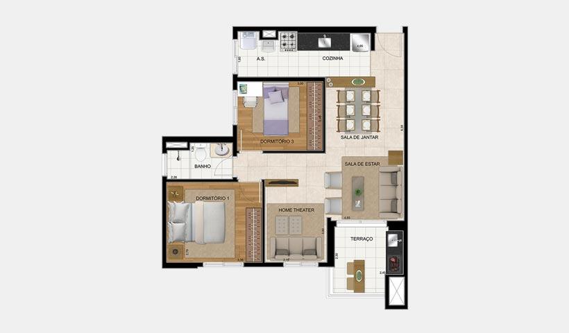 Prime House SBC – Planta 65 m² 2 dorms.
