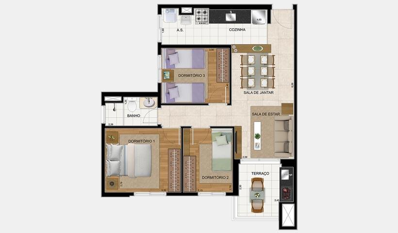 Prime House SBC – Planta 65 m² 3 dorms.