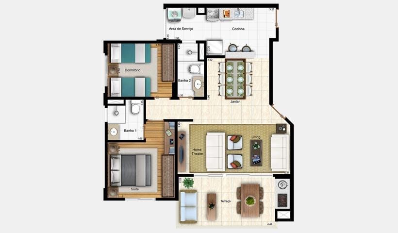 Prime House Vila Mascote – Planta opção de 80 m²