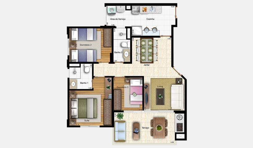 Prime House Vila Mascote – Planta tipo de 80 m²
