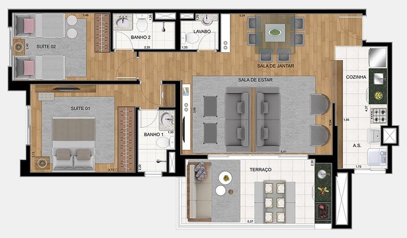 Quality House Ana Costa – Planta 88 m² 2 dorms.