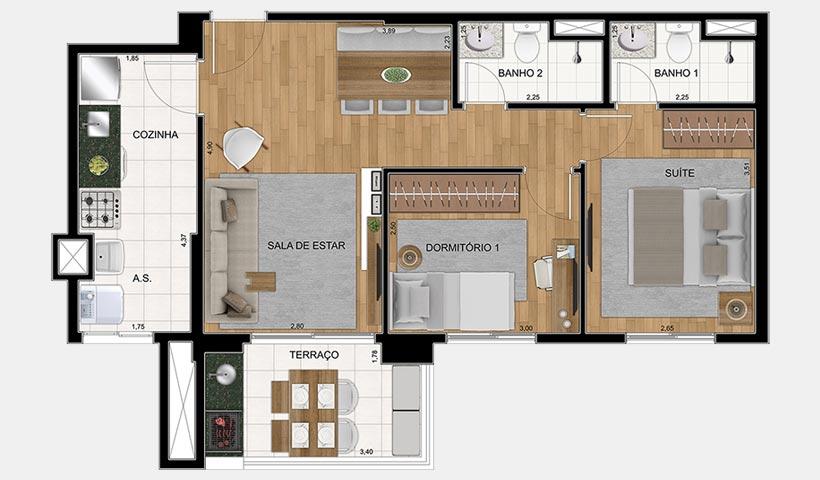Quality House Ana Costa – Planta 63 m² 2 dorms.
