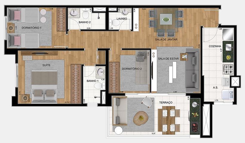 Quality House Ana Costa – Planta 88 m² 3 dorms.