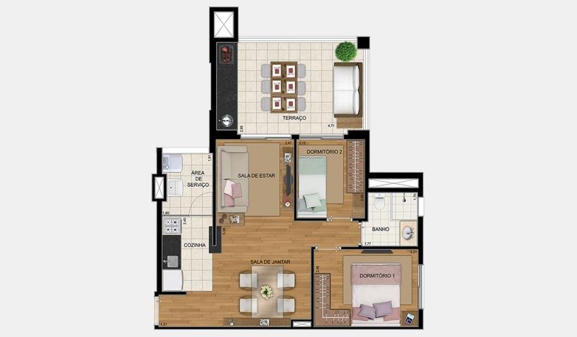 Quality House Sacomã – Planta de 65 m² com 2 dorms.