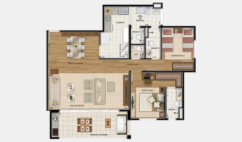 Quinta do Horto – Planta opção 105 m²