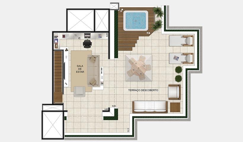 Quinta do Horto – Planta superior da cobertura duplex de 200 m²