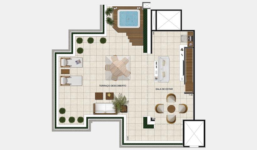 Quinta do Horto – Planta superior da cobertura duplex de 247 m²