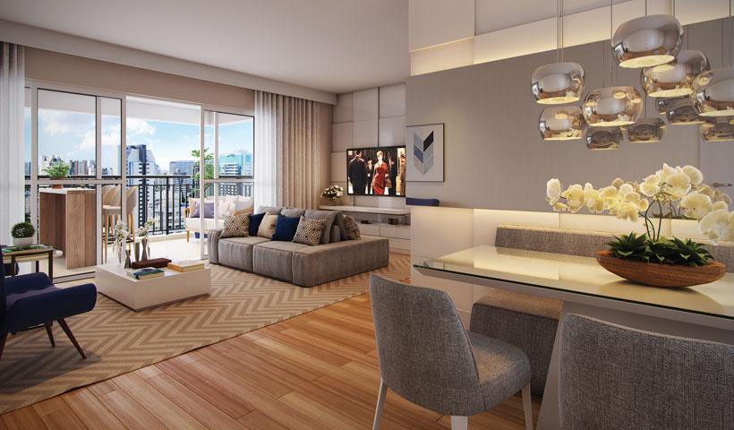 Reserva JB - Living do Apto. Opção de 83 m²