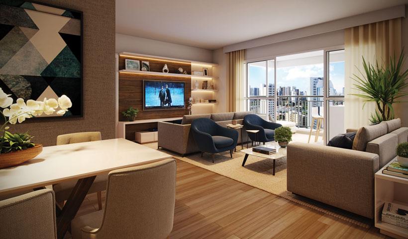Reserva JB - Living do Apto. Opção de 91 m²