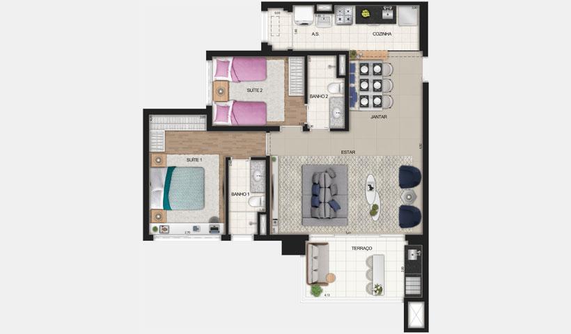Reserva JB – Planta Opção de 83 m²