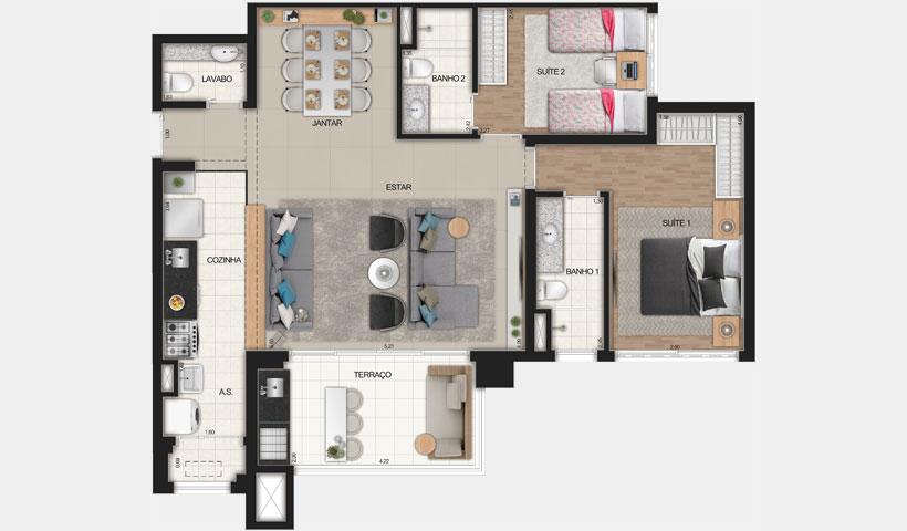 Reserva JB – Planta Opção de 91 m²