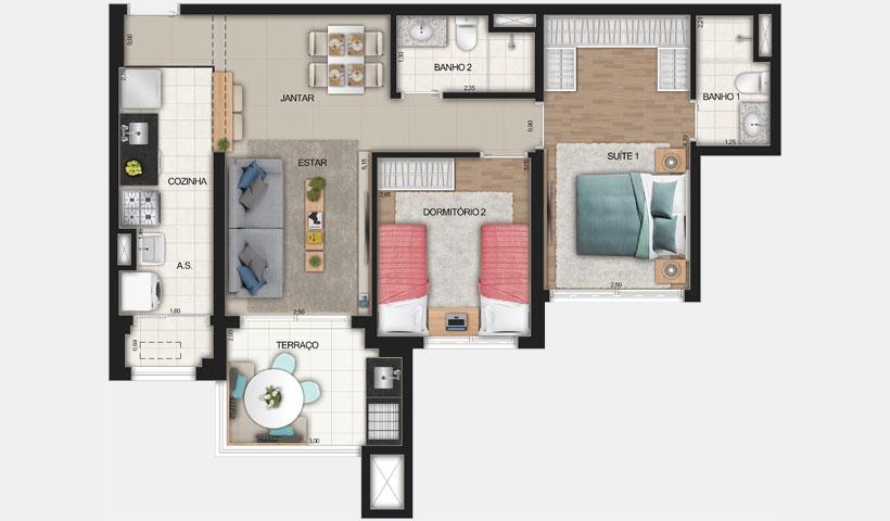 Reserva JB – Planta Tipo de 67 m²