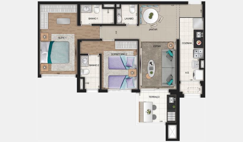 Reserva JB – Planta Tipo de 72 m²