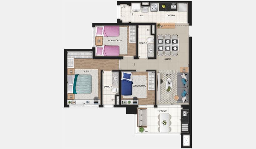 Reserva JB – Planta Tipo de 83 m²