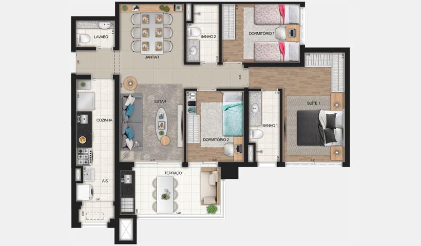 Reserva JB – Planta Tipo de 91 m²