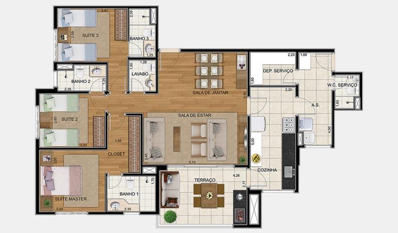 Royale Merit – Planta 126 m² 3 suítes