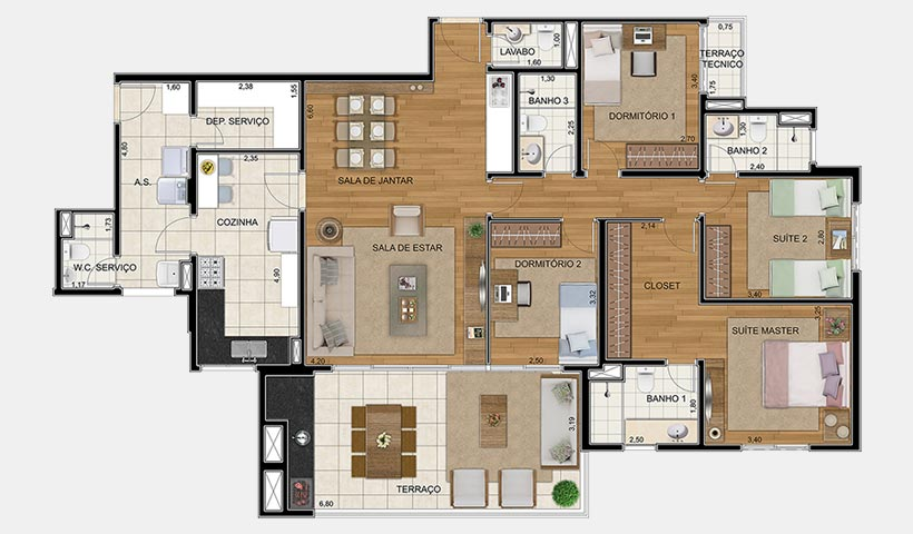 Royale Merit – Planta 162 m² 4 dorms.
