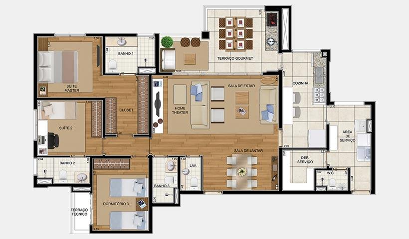 Royale Prestige – Planta opção de 150 m² com 4 dorms.