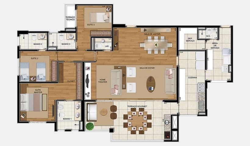 Royale Prestige – Planta opção de 192 m² com 4 dorms.