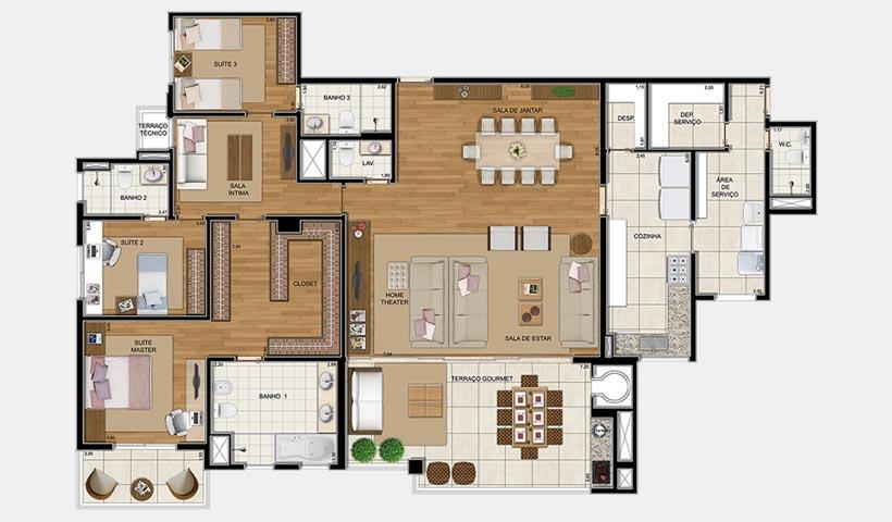 Royale Prestige – Planta opção de 236 m² com 4 dorms.